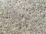6500 unidades de cuentas de cristal de 2 mm, color metálico, 11/0, perlas de pony, mini niños, cuentas de semillas, colores a elegir (plata pulida)