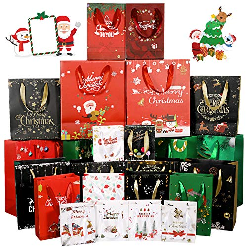 Fostoy Christmas Bags, 24 Count Christmas Print Bags, Assortment of 6 Each: X-Large, Large, Medium, and Small
