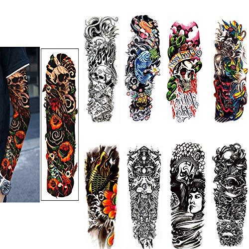 SOFIALXC Tatuajes Temporales - Arte del Tatuaje del Dragón Cruz Diseños Corporales, Brazo, Cuello En El Hombro, Pecho Y Tatuajes Falsos para La Espalda para Hombres, Mujeres,8packs,C