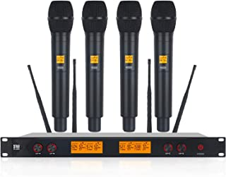 XTUGA A400 Metal Material 4-Channel UHF Wireless Microphone System with 4 Hand-held for Stage Church Use for Family Party,...