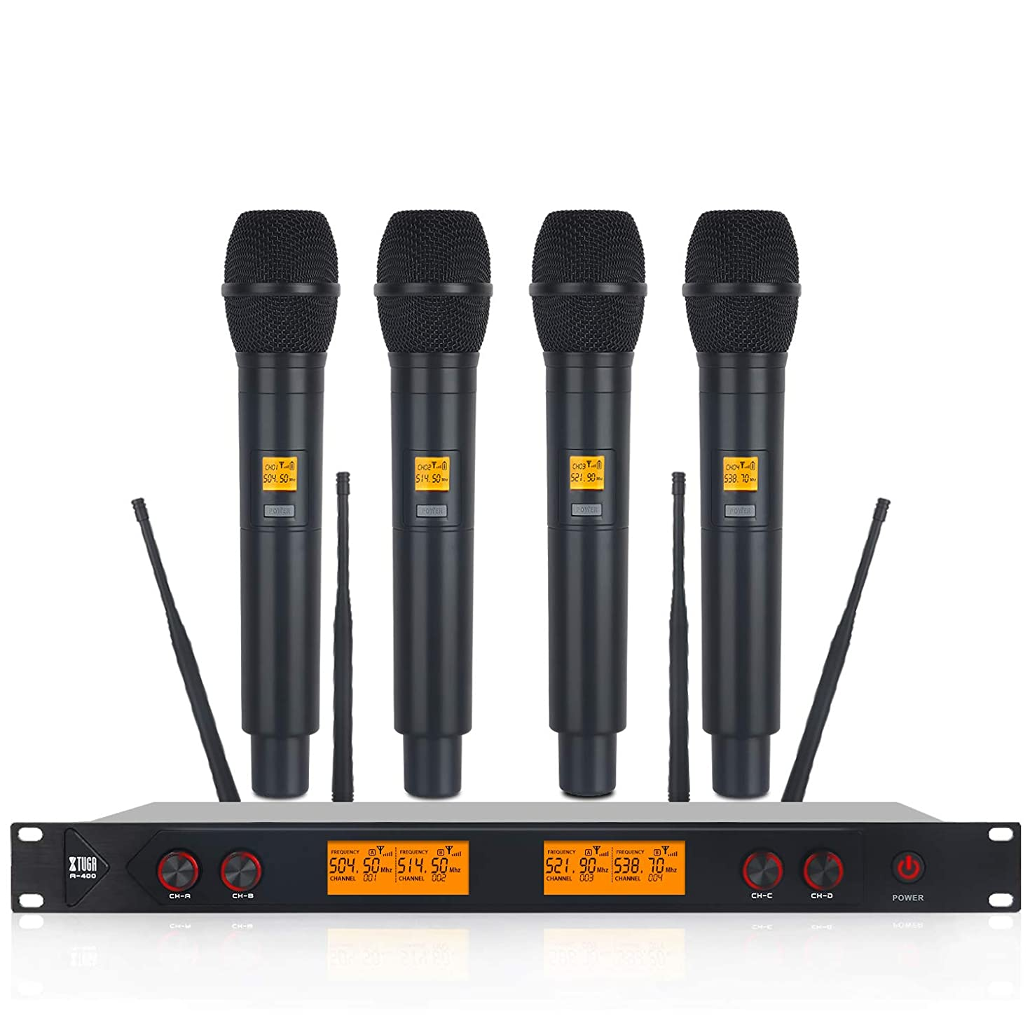 XTUGA A400 Metal Material 4-Channel UHF Wireless Microphone System with 4 Hand-held for Stage Church Use for Family Party, Church, Small Karaoke Night (A) …