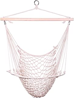 OnCloud Hammock Chair Cotton Hanging Rope Air/Sky Chair Swing for Indoor Outdoor Garden Yard Beige
