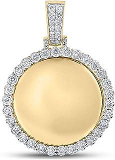 FB جواهر الذهب الأصفر 10kt رجل جولة الماس الذاكرة مرآة سحر قلادة 3/4 Cttw