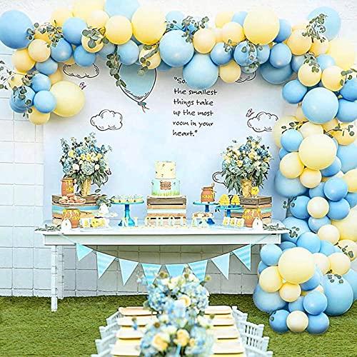 GRESAHOM Kit de guirnaldas, 102 piezas de arco de globo, kit de guirnaldas de globos azules macaron de látex amarillo para decoración de fiestas, globos para cumpleaños, boda, compromiso, baby shower