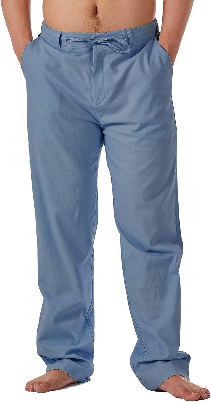 ZIOLOMA Mens Linen Yoga Pants Loose Casual Summer Beach Pants Lightweight Elastic Waist Drawstring Long Pant
