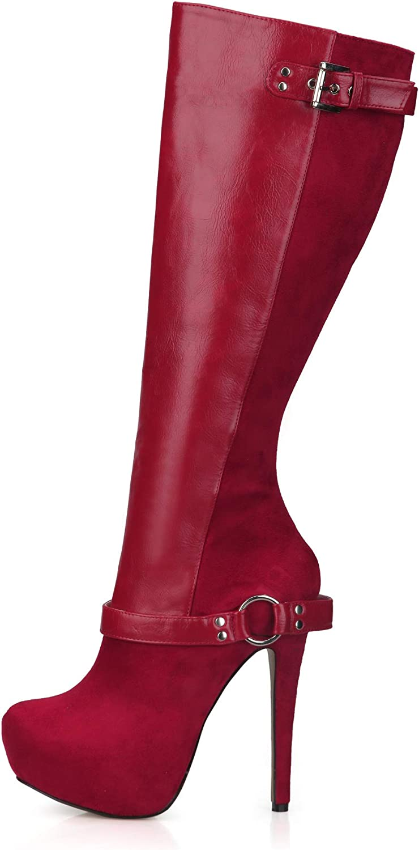 Best 4U Frauen Herbst Winter Stiefel Stiefel Stiefel 14 cm High Heels 3 cm Plattform PU Wildleder Stoff Kniehohe Stiefel Spitz Toe Reißverschluss Schuhe Rot  b893d7