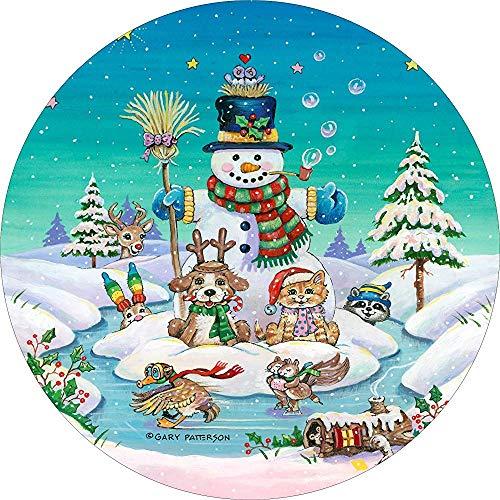 LYMT Kerst Sneeuwman kat Hond ijs Schaats Reserveband Cover voor 255/75R17 past RV, Scamp, Trailer (Drop Down Size menu