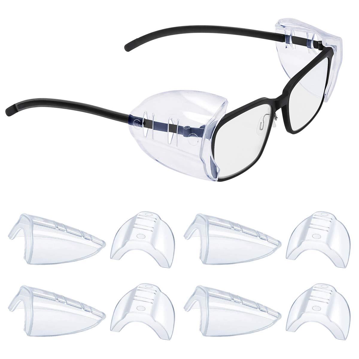 Transparente Protectores laterales, Universales Gafas Protección de seguridad Lateral Flexibles de Seguridad Protectores Laterales para Anteojos Pequeños a Medianos (6)