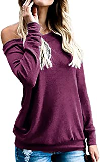 KABUEE Women's Sexy Boat Neck Off The Shoulder Long Sleeve Tunic Tops Casual Loose t Shirt Blouses
