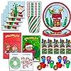 クリスマスパーティー用品とアクティビティ - プレート、カップ、ナプキン、ぬり絵、クレヨン、スタンパー - 各アイテム24個 - サンタクロース、冬の雪、木、キャンディケインの装飾付きの子供用ホリデーテーマに最適です。