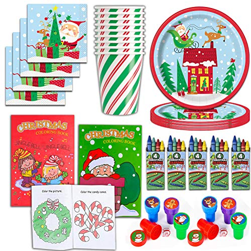 Christmas Party Supplies and Activities for 24 - Plates, Cups, Napkins, Coloring books, Crayons, Stampers - 24 of each item - Perfect for a Kids Holiday Theme w/ Santa Claus, winter snow, tree, candy cane decorations.