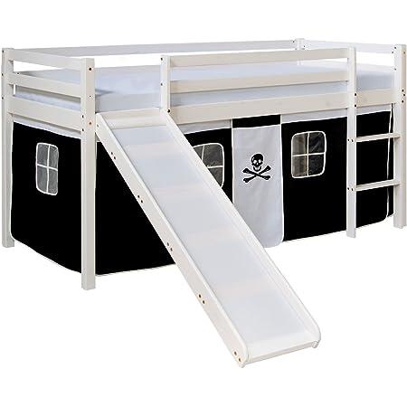 Homestyle4u 1542, lit loft pour Enfants avec Toboggan, échelle, Rideau Pirate Noir et Blanc, Bois Massif de pin Blanc, 90x200 cm