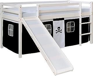 Homestyle4u 1542, lit loft pour Enfants avec Toboggan, échelle, Rideau Pirate Noir et Blanc, Bois Massif de pin Blanc, 90x...
