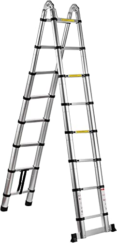 popular SHZOND 16.5 FT Aluminum outlet sale Telescopic Extension Ladder 330 LBS Capacity A-Type Telescoping Ladder Multi Purpose Extension Ladder with Spring Loaded Locking online (16.5 FT) outlet sale