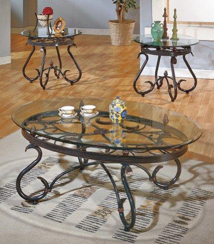 Steve Silver Lola 3 Piece Glass Coffee Table Set in Dark Brown