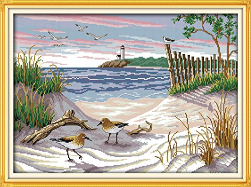 Maydear Cross Stitch Kits Stamped Full Range of Embroidery Starter Kits for Beginners DIY 11CT 3 Strands - The Narrow Birds 26.8×20.5(inch)