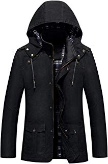 Plus Size Fashion Men's Autumn Winter Casual Hooded Pure Color Jacket Button Outwear Coat Tops