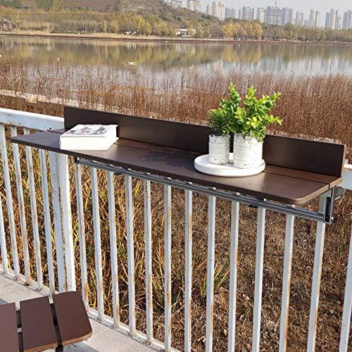 HRXQ Table De Balcon Suspendue Table Pliante Murale pour Balcon, Table Pliable De Balcon en Bois Réglable (Couleur: Café, Taille: 4 Tailles)