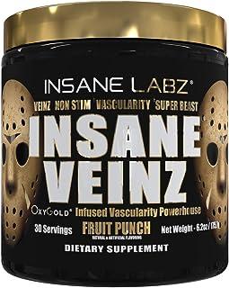 Insane Labz Insane Veinz Gold, Nitric Oxide Non Stimulant pre Workout Powder, Loaded with Hydromax, Nitrosigine, Increases...