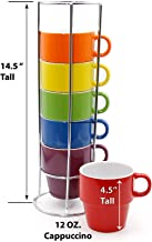 Gypsy Color 12 OZ. Cappuccino Stacking Coffee Mug Set with Metal Stand, Rainbow Multi..