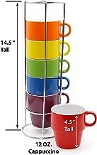 Gypsy Color 12 OZ. Cappuccino Stacking Coffee Mug Set with Metal Stand, Rainbow Multi..