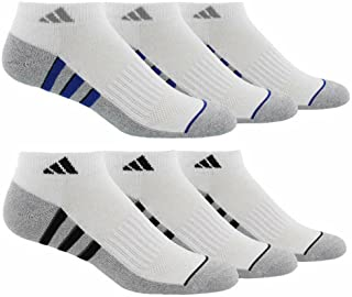 Men's 6-pair Low Cut Sock with Climalite White Black Regular and Extended Sizes