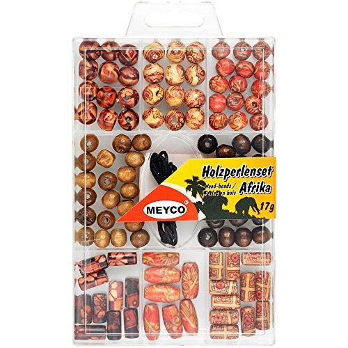 Holzperlen-Set Afrika, 17 Gramm. - gemusterte Holzperlen - Fädeln, Basteln mit Kindern
