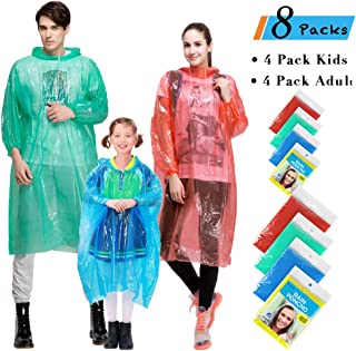Rain Ponchos Family Pack/Adult, 8 Pack Disposable Extra Thick Emergency Rain Ponchos, Assorted Colors, Perfect for Theme Park, Hiking, Disney, Camping Gear, Fishing