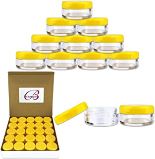 50 New Empty 5 Grams Acrylic Clear Round Jars - BPA Free Containers for Cosmetic, Lotion, Cream, Makeup, Bead, Eye shadow, Rhinestone, Samples, Pot, Small Accessories 5g/5ml (YELLOW LID)