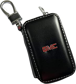 Wall Stickz Black Leather Car Key Case Remote Control Package Auto Key Chains fit gmc Accessory