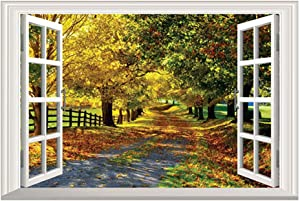 DNVEN 24 inches x 16 inches Full Color High Definition Autumn Feel Road in Forests Nature Forests Scenery False Faux Window Frame Window Murals Vinyl Bedroom Living Room Playroom Wall Decals