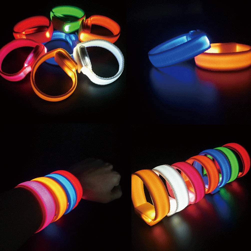 Christmas Glowing Bracelet, Wristband with Battery Box Flashing Sports Wristband, Party Bright Color LED Armbands Glow in The Dark