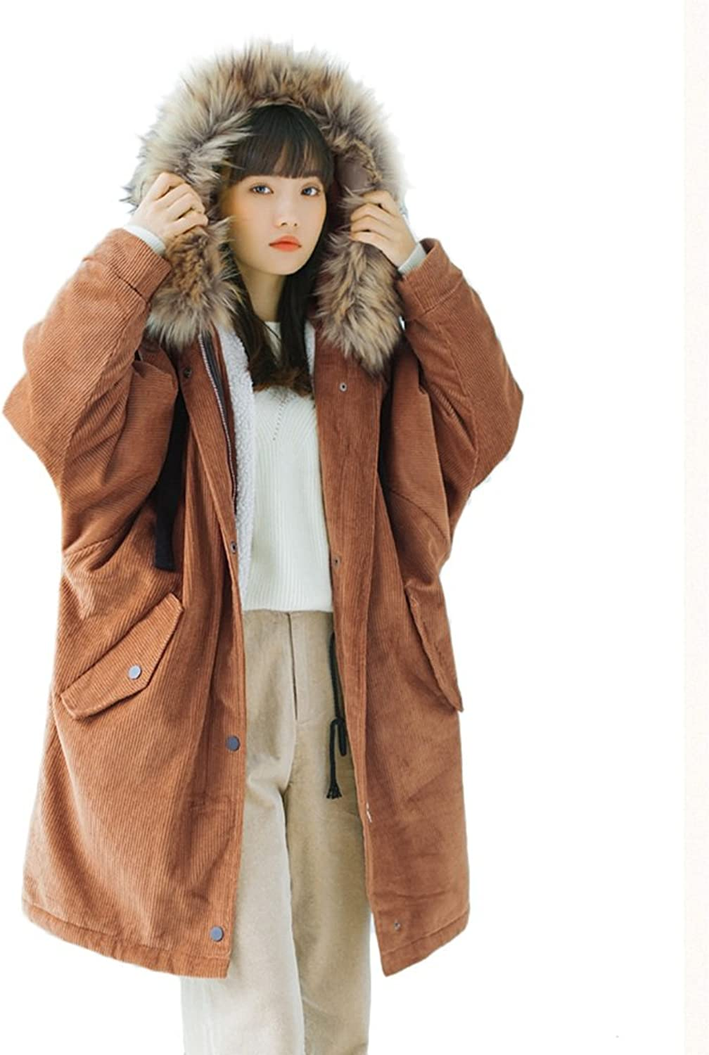 TSINYG Women's Fashion Loose Hooded Jacket Winter Warm Thicken Student Cotton Coat ( color   Brown , Size   M )