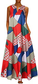 Women Plus Size Vintage Print Daily Casual Sleeveless Bohemian V Neck Maxi Dress (Size:XL, Red)