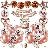 Decoración Cumpleaños para Mujeres Oro Rosa,Confeti Globos Oro Rosa De Feliz Cumpleaños con Adorno para Tarta, Pancarta, Borlas Brillantes, Globos De Cumpleaños para Niñas Adolescentes