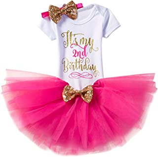 Baby Girl It's My 1st/2nd Birthday Cake Smash 3/4Pcs Shinny Sequin Bow Romper+Tutu Skirt+Headband+Leg Warmer Outfit