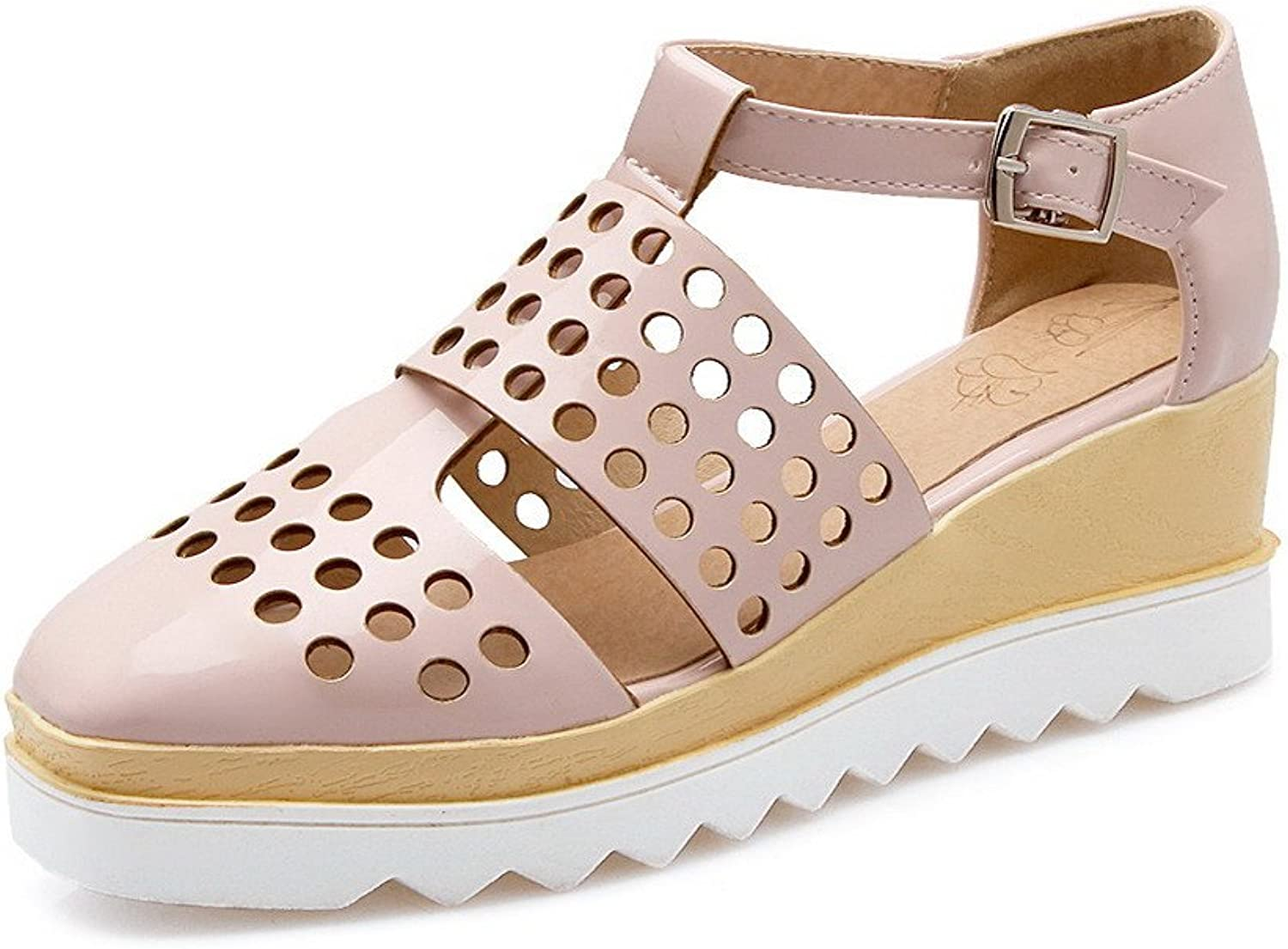 AllhqFashion Women's Soft Material Closed Toe Kitten-Heels Buckle Solid Wedges-Sandals