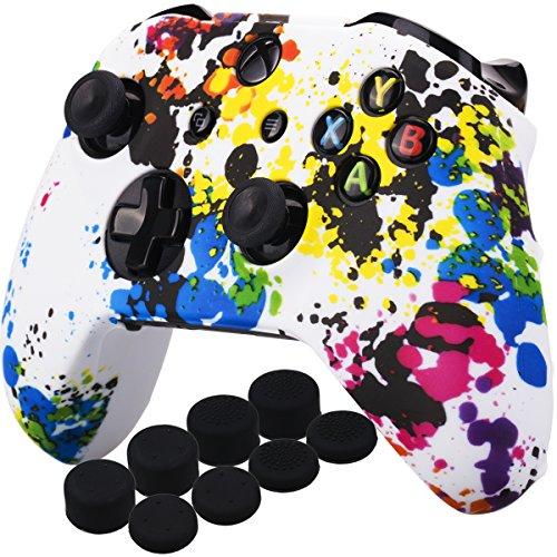 YoRHa Druck Gummi Silikon Hülle Skin Taschen für Xbox One S/X Controller x 1 (Graffiti) Mit PRO Daumengriffe Aufsätze Joystick-Kappen Thumb Grip x 8