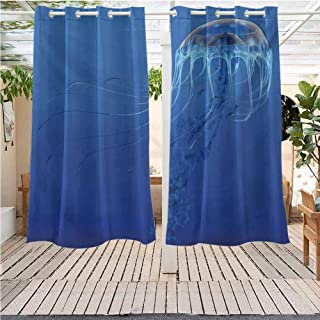 DONEECKL Jellyfish Extra Long Outdoor Curtain Blue Spotted Jelly Fish Aquarium Life Marine Animals Ocean Predator in The Deep Water Darkening Thermal Insulated Blackout W55 x L45 inch Blue