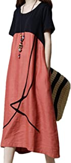 Womens Midi Dress Casual Loose Short Sleeve Cotton and Linen Dress with Pockets