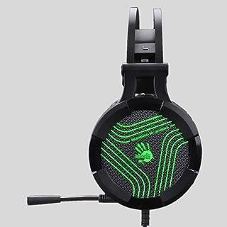 Bloody G530S Headset with Single Green Lighting, USB Black, Omni-Directional Mic. Auto-Adjusting Headband, Tangle-Free Cab...