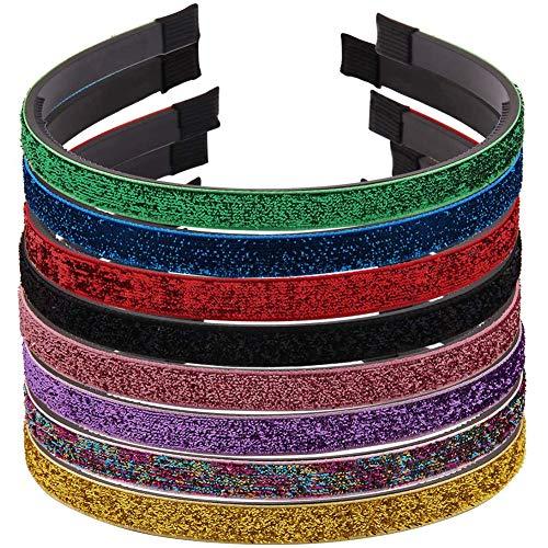 8 Stück Haarband mit Glitzer, Samt mit Zähnen Sanfte Berührung Stirnbänder DIY Haarreif Stirnbänder Kopfbedeckungen für Frauen, Männer und Mädchen, 8 Farben