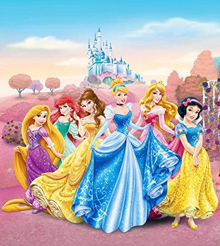AG Design FTDxl 1913 Disney Princess Prinzessinen, Papier Fototapete Kinderzimmer- 180x202 cm - 2 teile, Papier, multicolor, 0,1 x 180 x 202 cm