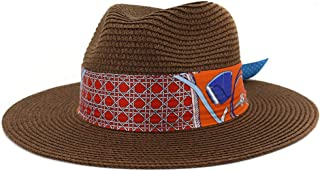 Outdoor Bucket Sun Hat Classic Summer Lady Straw Sun Hat Floppy Hat Wheat Straw Hat Elegant Sombrero Panama Hat Fedora Hat Panama Hat (Color : Coffee, Size : 56-58CM)