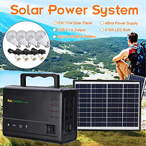 LAMP-XUE Solar Panel Power Storage Generator 18V Portable Solar Generator with Solar Panel Solar Powered Generator Kit for Home Emergency Backup Power Camping Outage