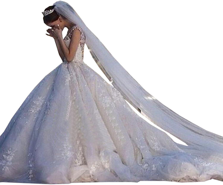 Ellystar Women's Mondern Ball Gown Lace Sleeveless Zipper V Neck Wedding Dresses