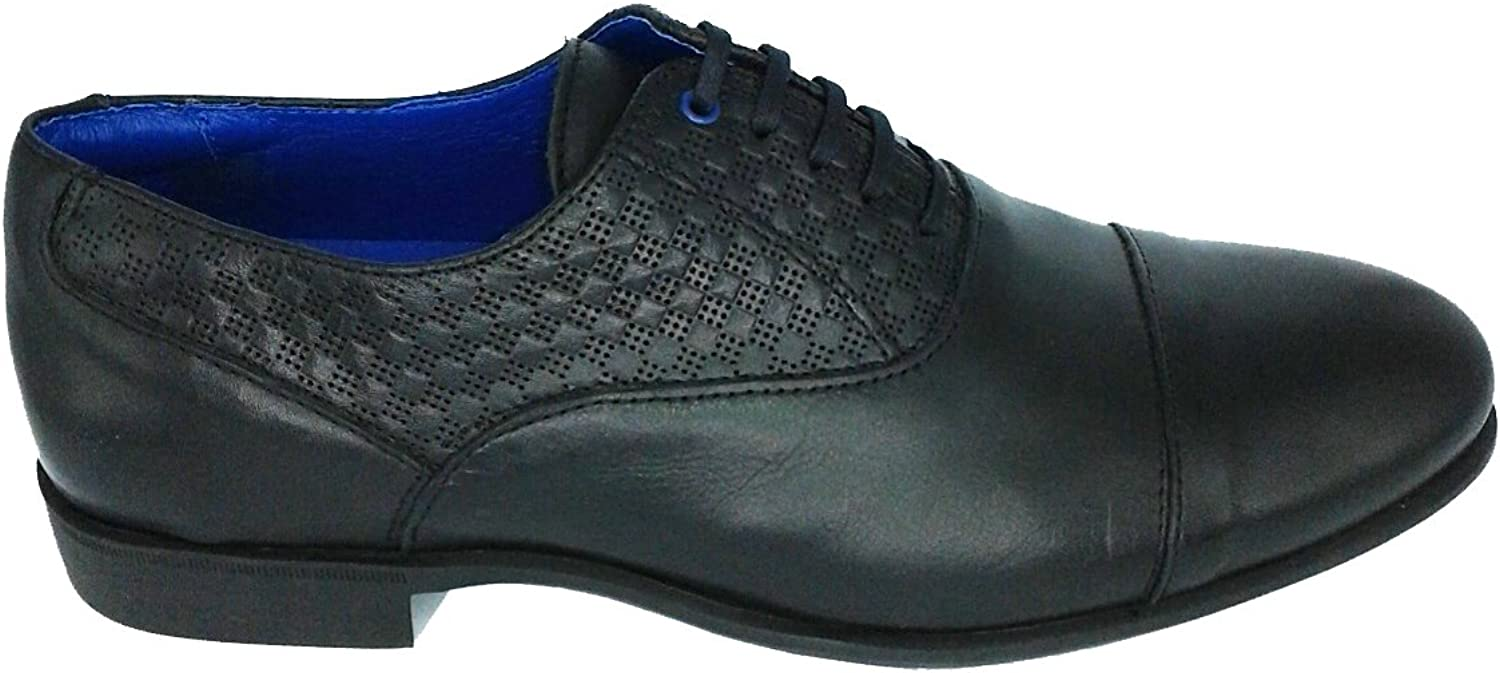 Cetti C1030, Men's Derby Smart shoes, Black Leather