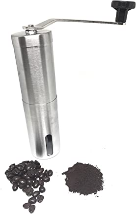 Royal Kitchen Manual Coffee Grinder Conical Burr Mill for Precision Brewing Brushed Stainless Steel
