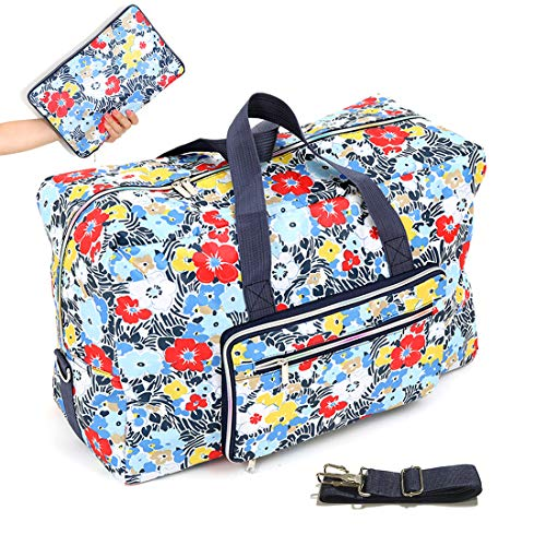 """22"""" Foldable Large Travel Duffel Duffle Bag Overnight Carryon Weekend Bag Shoulder Bag Water Rresistant 8 Color Choices (A flower)"""