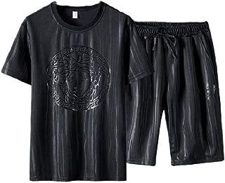 Mogogo Men's Oversize Relaxed Printing Smocked Waist Drawstring Short Pants Sportswear
